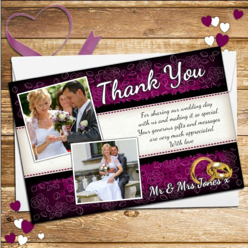 10 Personalised Purple & Black Floral Wedding Day Thank you Photo Cards N227